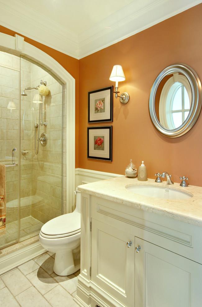 bathroom color trends white vanities marble countertop wall lamp single sink faucets toilet shower glass door traditional design