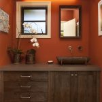 Bathroom Color Trends Wooden Cabinets Single Sink Mirror Faucet Drawers Rustic Design