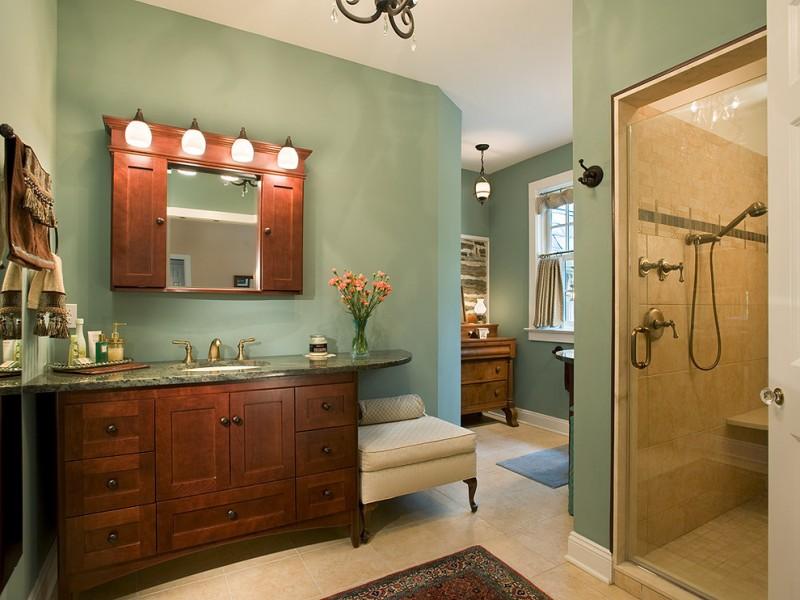 bathroom color trends wooden cabinets vanities drawers hanging shelves shower carpet towel rack traditional design