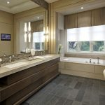 bathroom color trends wooden vanities double sink faucets mirror wall lamps chair tub ceiling lights contemporary design