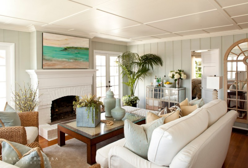 beach decor for the home white couch beachc plant mirrored cabinet white fireplace beach painting beach style living room
