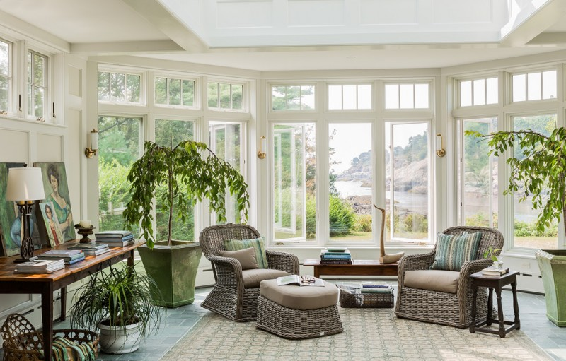 beach style sunrooms furniture for sunroom arcadia chair in canvas natural rattan chair foam crown molding patterned rug