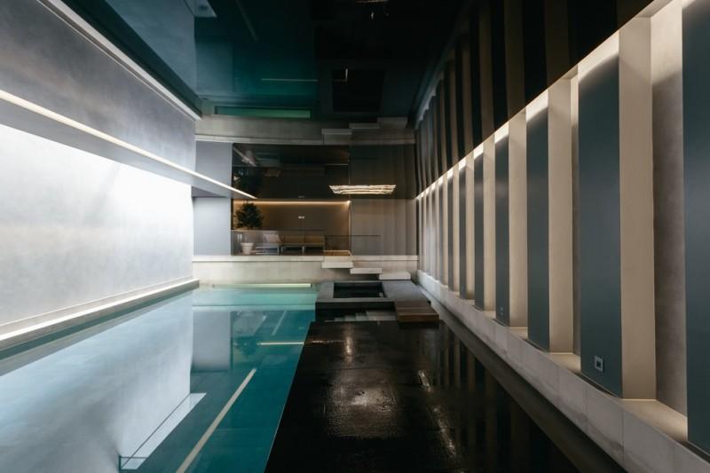 black & reflective enclosure for private interior pool