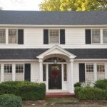 Black Wooden Colonial Front Doors With Arch Ceiling, Mosaic Glass Window On Top And On The Side Of The Door