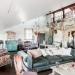 Boho Chic Furniture Armchairs Table Cabinet Windows Chandelier Sofa Pillows Living Room