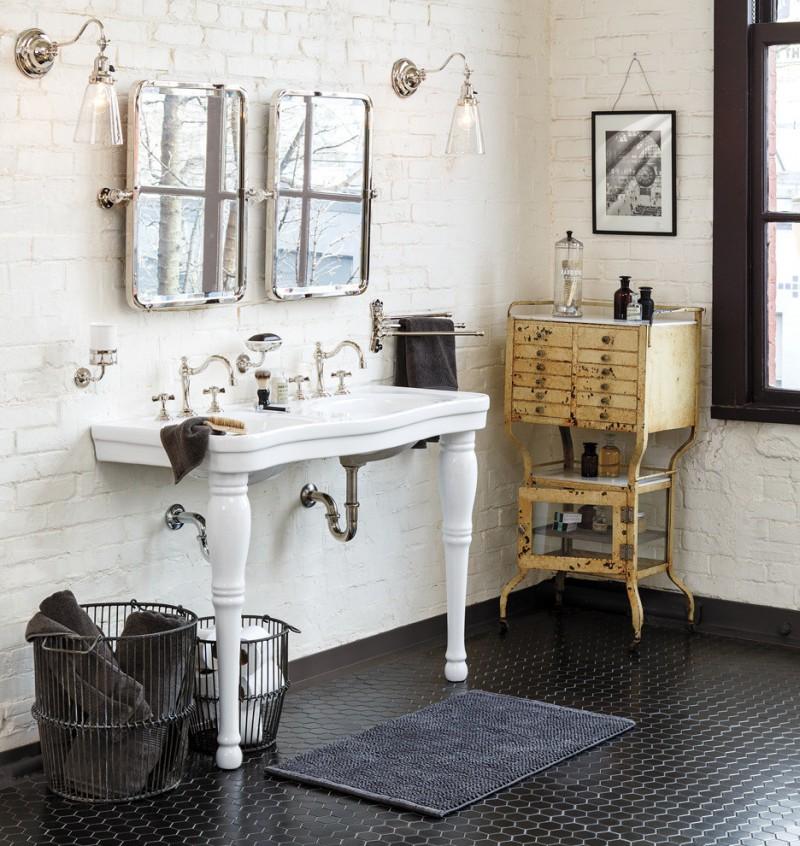 boho chic furniture dark floor sink faucet mirrors lamps baskets storage item window traditional bathroom