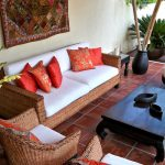 Boho Chic Furniture Rattan Chairs Sofa Table Pillows Wall Decor Indian Patio Outdoor Area