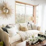 boho chic furniture small table long table sofa windows pillows glass door lamp beach style living room