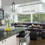 Booth Style Kitchen Table Contemporary Kitchen Black Piston Stools Black Tate Storage Ottoman Black Kitchen Brown Dining Couch