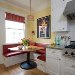 Booth Style Kitchen Table Small Kitchen Red Cushioned Dining Nook White Marble Blacksplash White Kitchen