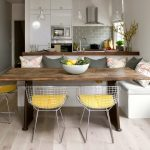 Booth Style Kitchen Table White Bertoia Rilsan Chair White Walnut Corner Unit White Oak Floor Minimalist Kitchen