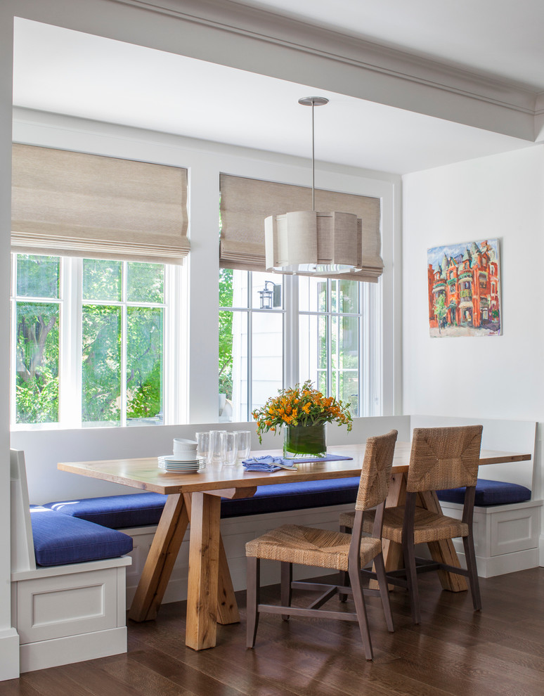 breakfast nook benches wood table and chairs set wall painting white pendant blinds hardwood floors traditional design
