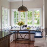 Breakfast Nook Benches Wooden Table Flower Centerpiece Cabinet Hardwood Floors Beige Walls Modern Pendant Transitional Design