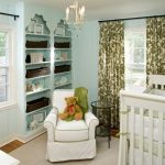 Built In Bookcases Blue Painted Wall Green Curtains Pillow And Blanket Pendant Lamp Cream Rug Hardwood Floor