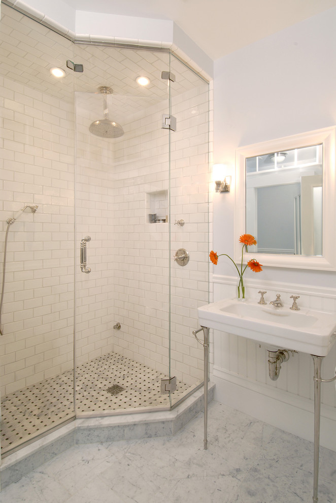 carrera marble bathrooms console sink double faucets mirror ceiling shower lights subway tiles traditional design