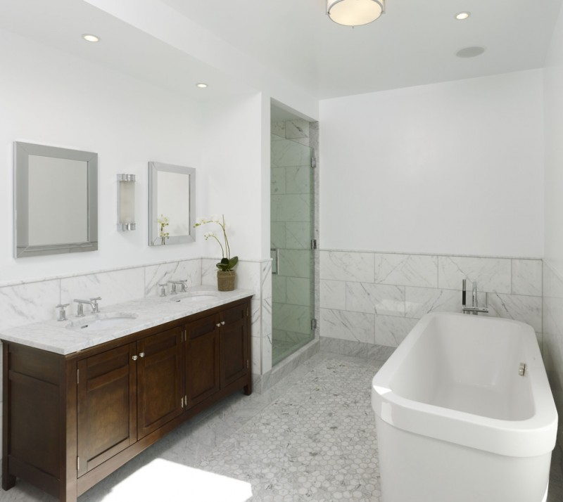 carrera marble bathrooms freestanding tub ceiling lights wooden cabinet marble countertop double sink mosail tiles mirrors contemporary design