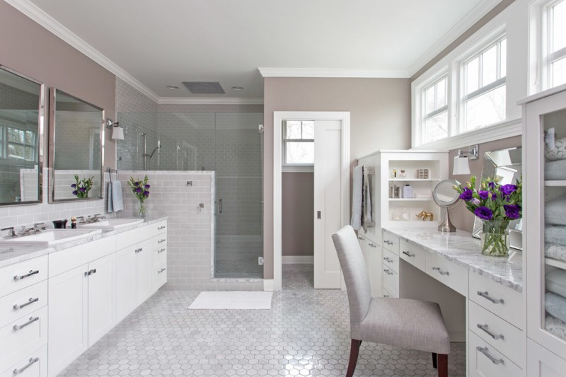 carrera marble bathrooms mosaic tiles flat panel cabinets marble countertop double sink towel shelves chair mirror ceiling lights traditional design