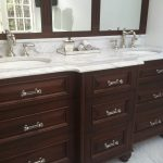 Carrera Marble Bathrooms Raised Panel Cabinets Double Sink Faucets White Tiles Mirror Tray Traditional Design