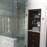 Carrera Marble Bathrooms Raised Panel Cabinets White Mosaic Tiles Alcove Shower Glass Door Traditional Design