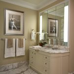 carrera marble bathrooms white cabinet countertop hanging towel rack single hole sink faucet wall lamps traditional design