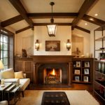 Chandelier Beams White Armchair Wall Lights Built In Cabinet Shelves Fireplace Leather Ottoman