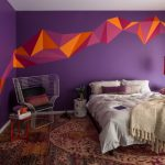 Color To Paint Your Bedroom Purple Orange Walls Bed Pillows Small Tables Chair Hanging Lamp Wall Decor