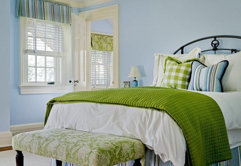 color to paint your bedroom window light blue walls bed pillows baseboards lamp traditional bedroom