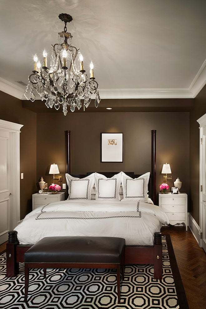colors to paint your bedroom bed hardoow floors chandelier chaise longue side tables light fixtures carpet white doors traditional design
