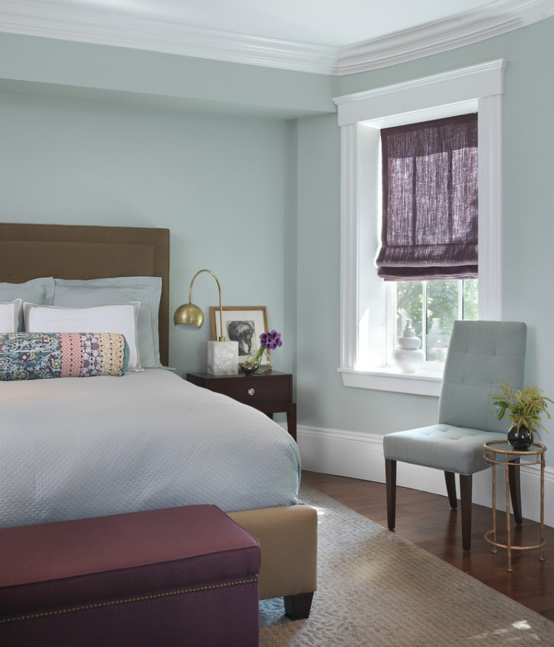 color to paint your bedroom hardwood floor carpet bed pillows window light blue walls chairs small tables flowers lamp transitional bedroom