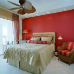 colors to paint your bedroom red white walls bed pillows chairs curtain lamps bedside table tropical room ceiling fan lights