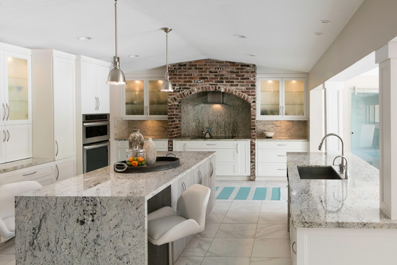 contemporary kitchen granite countertop pale wood cabinets undermount sink granite top kitchen island with pale wood cabinets addition a modern bar stool white ceramic tiles floors