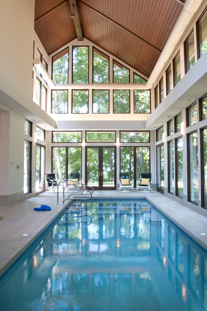 contemporary pool with permanent enclosure rectangular pool