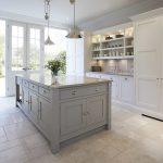 Contemporary Shaker Kitchen Light Ivory Spice Granite Mazzano Tumbled Marble Flooring