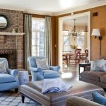 Cream Sofa Sofa Table Blue Accent Chairs Rug Pillow Thows Firestone Brick Wall Cream Tilkes And Curtain Pendant Lamp