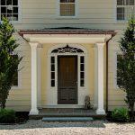 Dark Brown Colonial Front Doors With Storm Door, White Wooden Door With Swuare Glass Windows