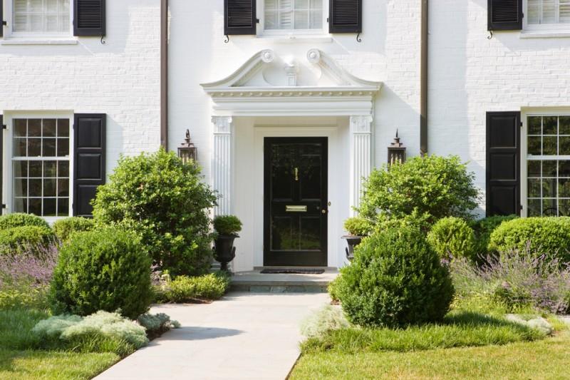 dark colonial front door with storm door