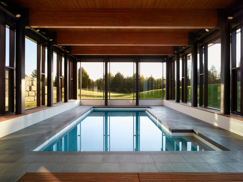 dark toned cedar enclosure for modern minimalist interior pool natural stone paver flooring idea fulll glass windows with black painted frames