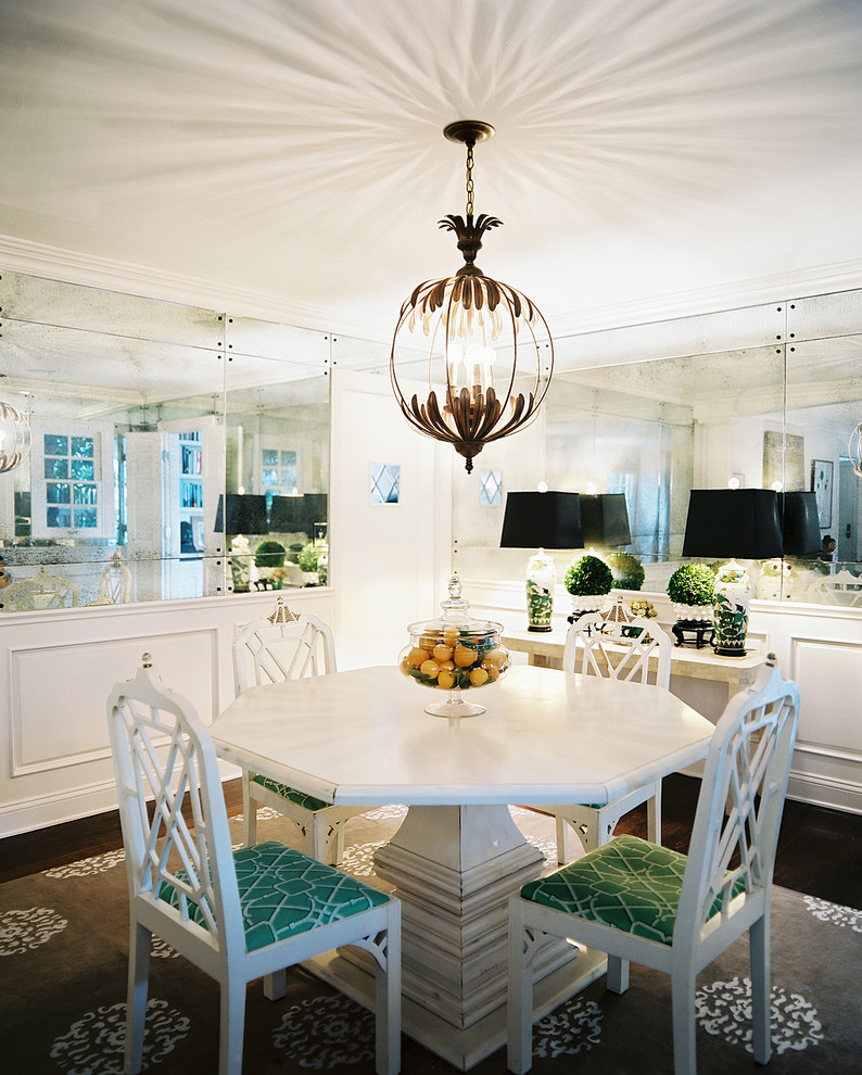 decorative mirrors for dining room chandelier white table low back chairs cabinet carpet lamps hardwood floors centerpiece eclectic design