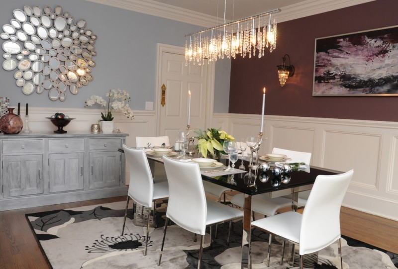 decorative mirrors for dining room table chairs wood cabinet crystal pendants light fixtures hardwood floors carpet framed painting modern design