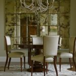 decorative mirrors for dining room tall back chairs round wood table white carpet hardwood floors eclectic design
