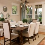 decorative mirrors for dining room tall back chairs wood table throw pillows chandelier hardwood floors curtains carpet desk rustic design