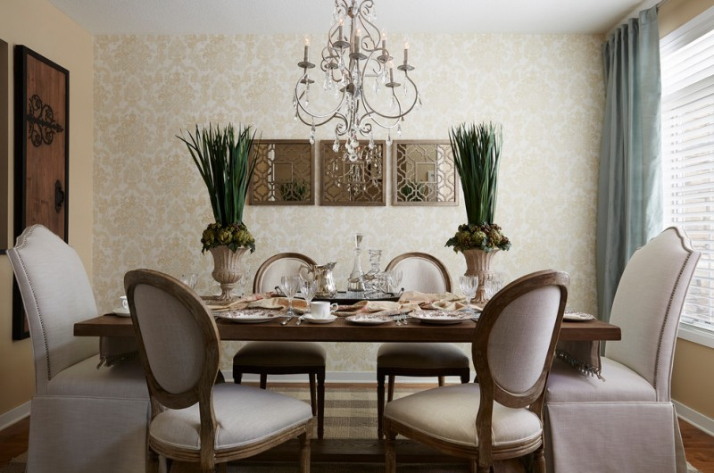 decorative mirrors for dining room wood narrow table tall back plush chairs curtain wallpaper chandelier hardwood floors decorations mediterranean design