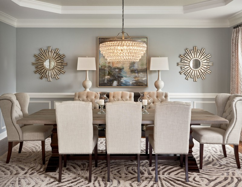 decorative mirrors for dining table tall back tufted chairs wood table carpet lamps chandelier wall framed painting grey walls curtain transitional design
