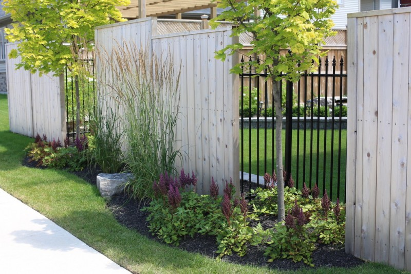 decorative privacy fence combining solid board cedar with ornamental Iron
