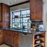 Dishwasher Stainless Steel Pull Down Sprayer Kitchen Faucet Storage Wooden Cabinet Glass Window Shelving