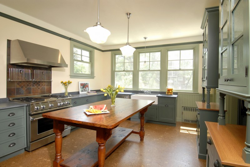 farm style kitchen table cabinets drawers windows sink flowers stove victorian room