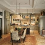 Farm Style Kitchen Table Carpet Doors Table Lamp Ceiling Lights Chandeliers Wall Cabinets Flowers Traditional Style Room
