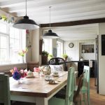 farm style kitchen table green chairs window flowers hanging lamps clock shabby chic style room
