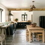 Farm Style Kitchen Table Stools Chairs Decorative Plants Windows Shelves Farmhouse Style Room
