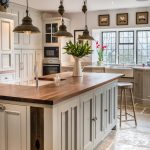 Farmhouse Kitchen Idea With Wood Top Kitchen Island With Storage And Wood Chair Additions